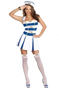 White Stripy Sailor Halloween Costume