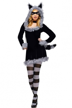 Wolf Animal Furry Adult Racy Raccoon Halloween Costume