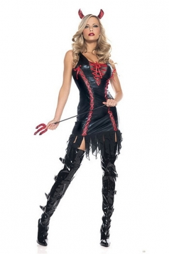 Black Sleeveless Devil Halloween Costume