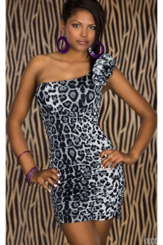 Black Leopard Single Shoulder Dress