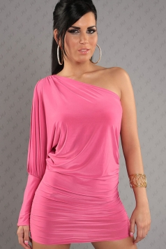Pink Sexy Zipper Single Shoulder Dress