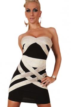 Sexy Gold Sweetheart Off Shoulder Bandage Dress
