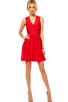 Red Deep V Neck Sleeveless Lack Party Dress
