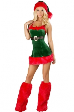 Womens Sexy Fur Christmas Santa Elf Costume Green