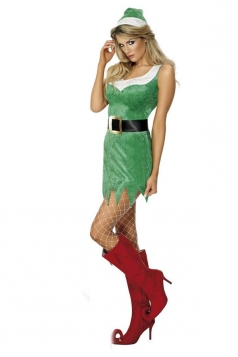 Sexy Green V Trim Santa Elf Costume