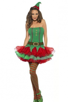 Sexy Green Bubble Christmas Elf Costume