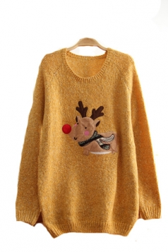 Cute Reindeer Christmas Pullover Sweater