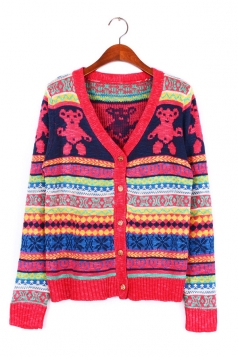 Trim Bear Heart Print Christmas Cardigan Sweater