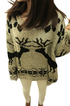 Batwing Reindeer Printing Christmas Sweater