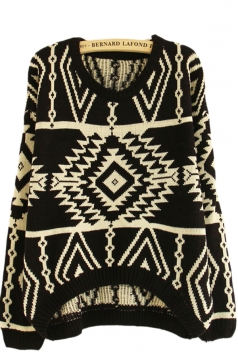 Black Totem Striped Patterned Christmas Pullover Sweater