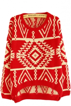 Red Totem Striped Patterned Christmas Pullover Sweater