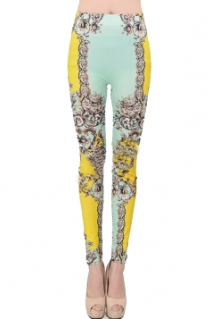 Yellow Floral Print Designer Leggings