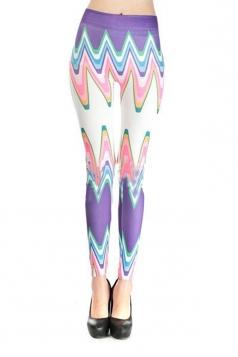 Purple Chevron Stripe Leggings