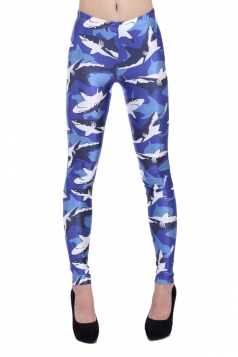 Blue Sharks Animal Print Leggings