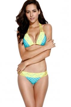 White Dot Lace Trim Blue Triangle Bikini Set