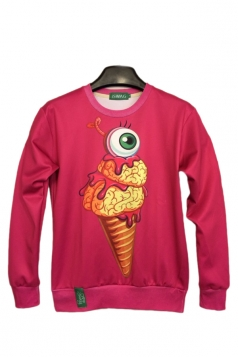 Ice Cream Eye Print Rose Red Sweatshirts