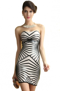 White Sexy Striped Strapless Dress