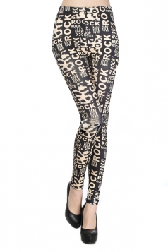 Black Metallic Letter Print Leggings