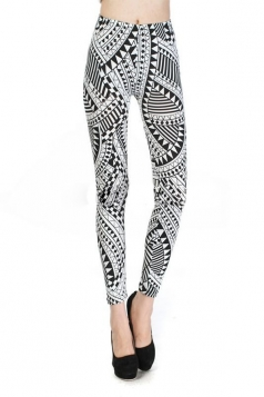 White Sexy High Waisted Tribal Leggings
