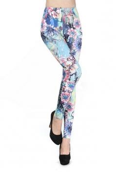 Blue High Waist Floral Print Leggings
