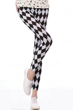 Black and White Rhombus Plaid Printed Womens Leggings