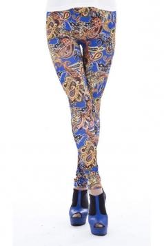 Blue Retro Elephant Print Ladies Shaping Tribal Leggings