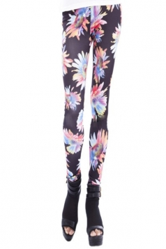 Black High Waist Floral Printed Leggings