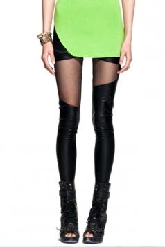 Black High Waist Leather Irregular Ripped Leggings