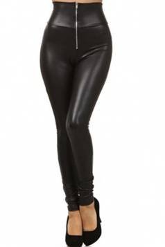Black High Waisted Zip Leather Leggings