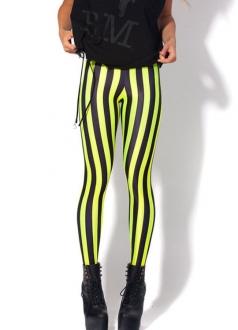 Black Green Striped Sexy Women Leggings