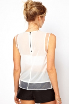 Chiffon Organdy Sleeveless Womens Sheer Top