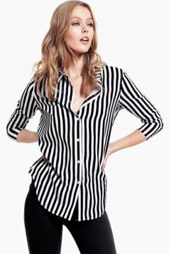 Womens Turndown Collar Long Sleeve Striped Bouse Black