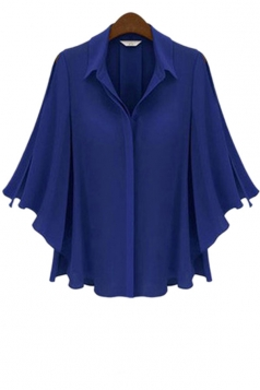 Plus Size Blue Elegant Ladies Flare Sleeve Loose Blouse