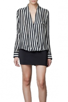 Plus Size Black and white stripes Deep V Womens Casual Blouse