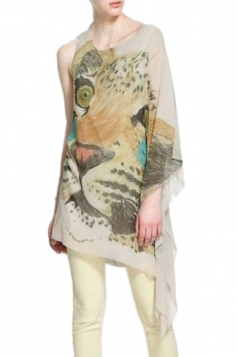 Leopard Printed One Shoulder Ladies Anomaly Top