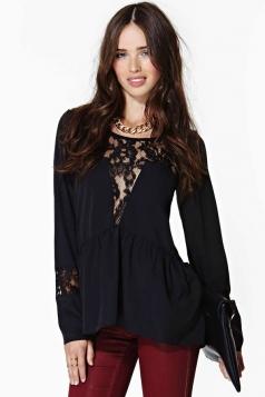 Plus Size Black Summer Lace Womens Sheer Peplum Top