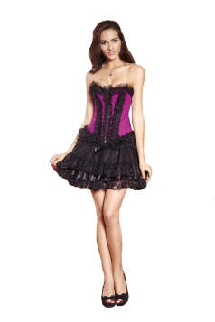 Ladies Sexy Lace Zipper Slim Corset