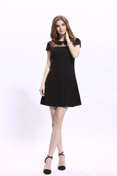 Black Short Sleeve Mesh Ladies Elegant Shirt Dress