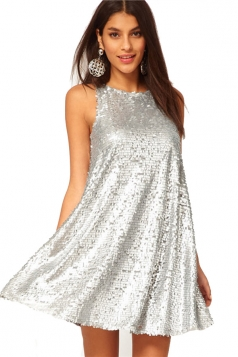 Sliver Shining Sequins Ladies Round Neck Sleeveless Dress