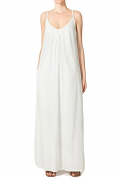 Sleeveless Pure Cotton Strap Womens Long Dress