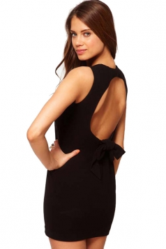 Bodycon Sleeveless Backless Bowknot Ladies Cocktail Dress