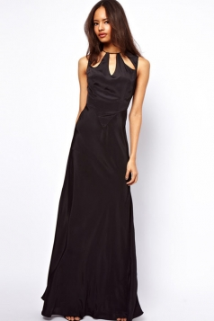 Black Womens Back Hollow Style Elegant Sleeveless Evening Dresses