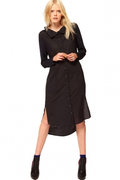Black Ladies Stand Collar Casual Style Long Sleeve Loose Shirt Dress