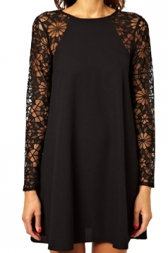 Womens Sexy Lace Long Sleeve Smock Dress