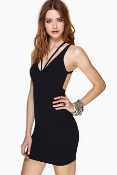 Plus Size Black Sexy Womens Spaghetti Strap Sleeveless Bodycon Dress