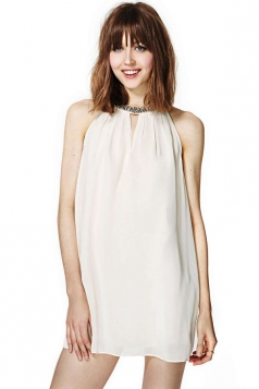 White Cute Womens Halter Sleeveless Rhinestone Smock Dress