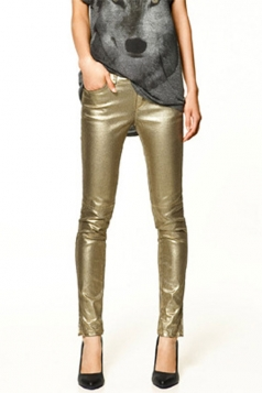 Gold Slimming Ladies Stylish Metallic Leggings