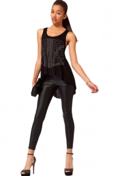 Plus Size Black Punk Boyish Leather Leggings