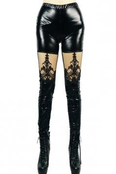 Black Sexy Ladies Lace See Through Faux Leather Leggings