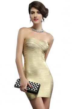 Golden Sleeveless Streak Strapless Cross Bandage Dress